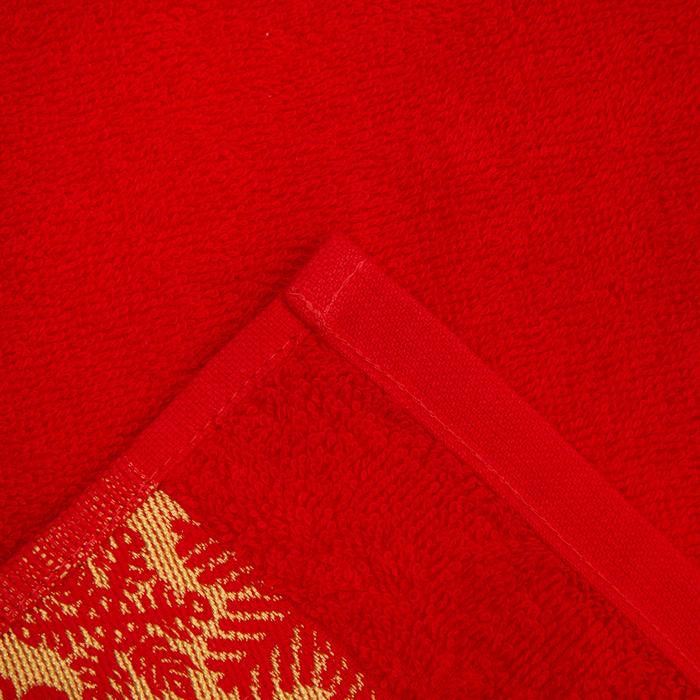 """Полотенце махровое """"Снежинки"""" красн 30х70 см 100% хл, 370гр/м2"""