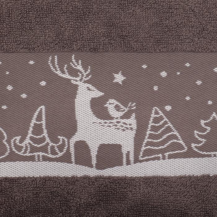 """Полотенце махровое """"Зима принесет счастье"""" 30х70 см 100% хл, 370гр/м2"""