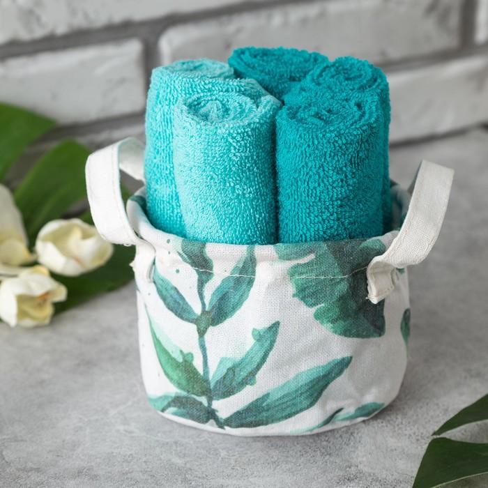 Набор полотенец в корзинке Этель «Тропики» 30×30 см - 5 шт, светло - зелёный/яркая мята