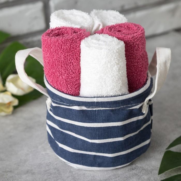 Набор полотенец в корзинке Этель «Полоса» 30×30 см - 5 шт, малиновый/белый