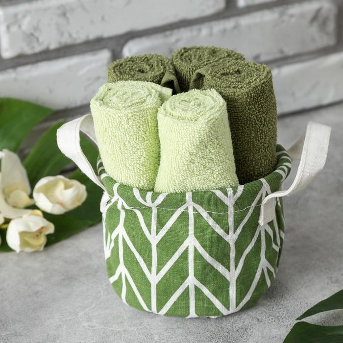 """Набор полотенец в корзинке Этель """"Трапеция"""" 30*30 см-5 шт, темная зелень/светло-зеленый"""