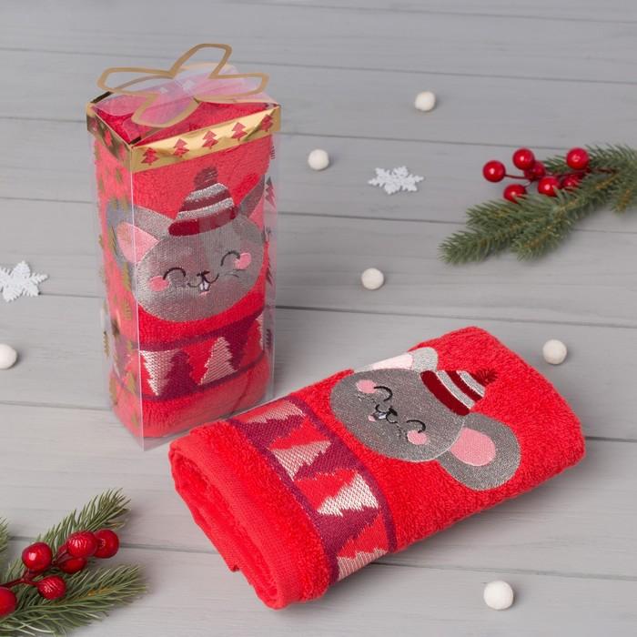 """Полотенце махровое """"Привет Новый год"""" 30х70 см, 100% хлопок 370 г/м2"""