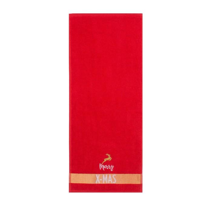 "Полотенце махровое ""Merry X-MAS"" 30х70 см, 100% хлопок 370 г/м2"