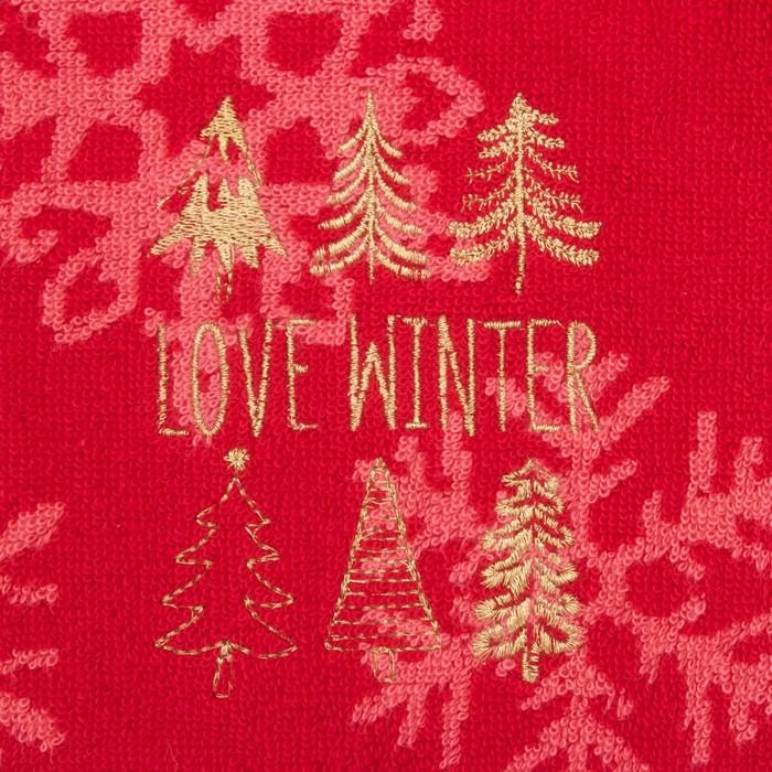 """Полотенце махровое """"Love winter"""" 50х50 см, хлопок 420гр/м2"""