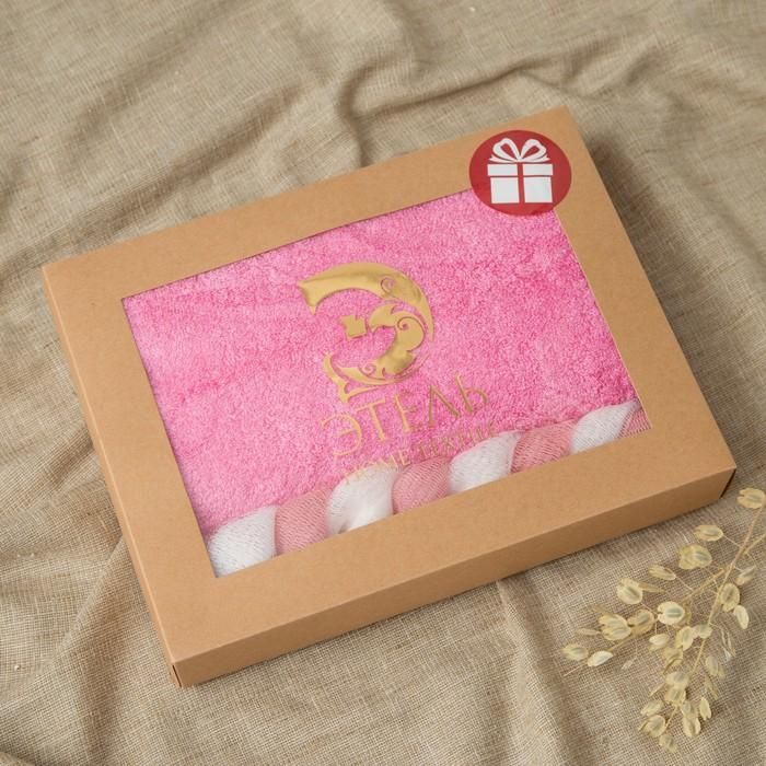 """Полотенце подарочное Этель """"Bamboo"""", розовый 50*90 см бамбук, 460 г/м2+подарок(мочалка)"""