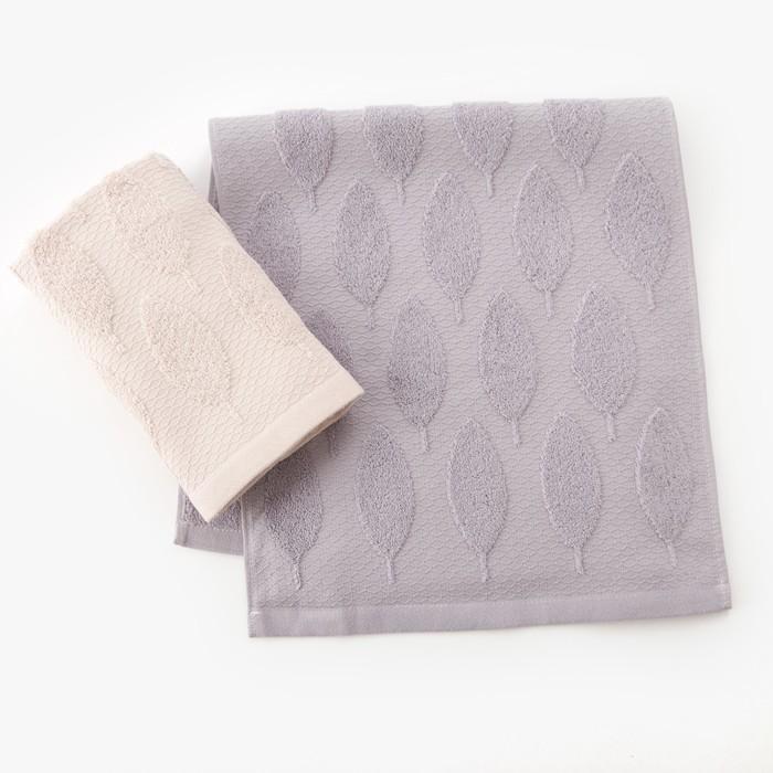 """Набор полотенец Этель """"Листья"""" 30*70 см-2шт, цв.св.серый/серый, 380 г/м2, 100% хл"""