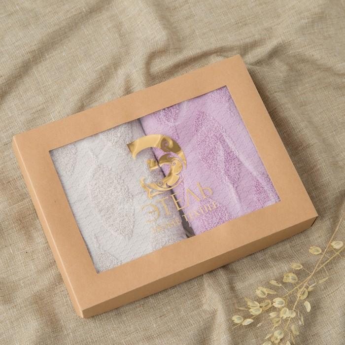 """Набор полотенец Этель """"Листья"""" 30*70 см-2шт, цв.св.серый/фиолетовый, 380 г/м2, 100% хл"""