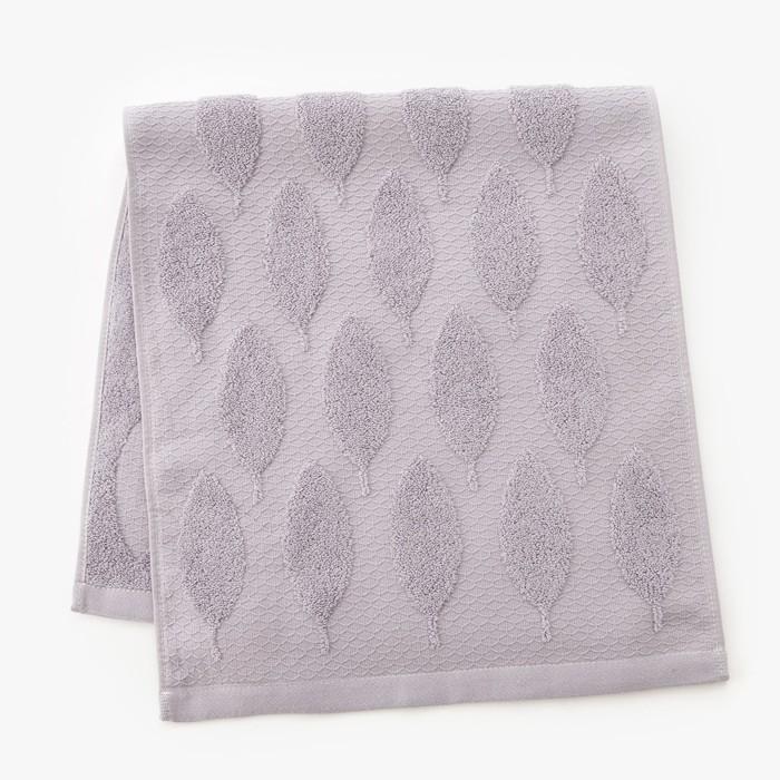 Полотенце двухстороннее Этель «Листья» цвет серый, 70×140 см, 380 г/м², 100% хл