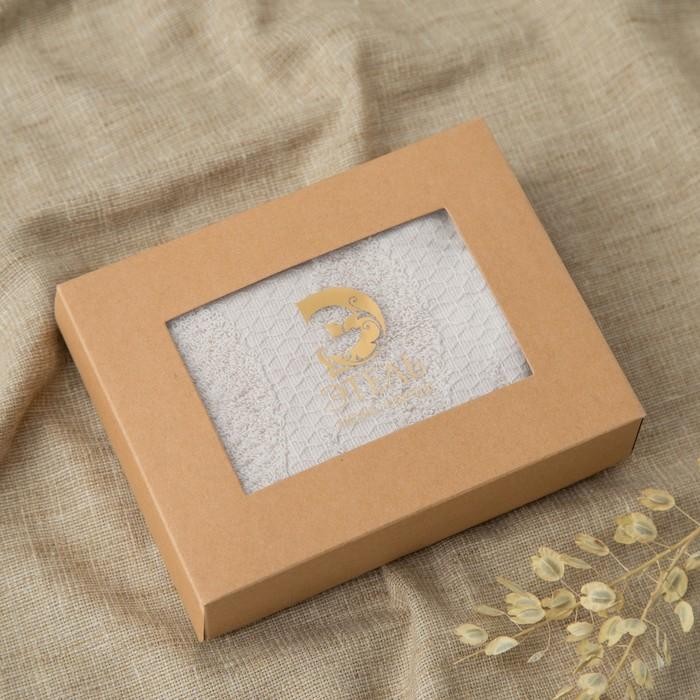 Полотенце двухстороннее Этель «Листья» цвет св.серый, 70×140 см, 380 г/м², 100% хл