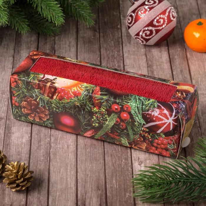 Махровое полотенце «Ёлочные игрушки» 30×60 см, 100% хлопок, 340 г/м²
