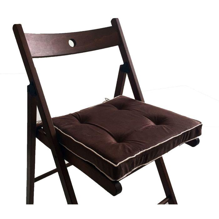 Подушка на стул 38х38 см, h 5 см, цвет коричневый, велюр, поролон, кант