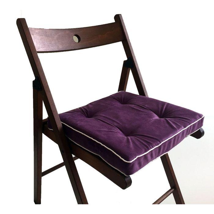 Подушка на стул 38х38 см, h 5 см, цвет сиреневый, велюр, поролон, кант