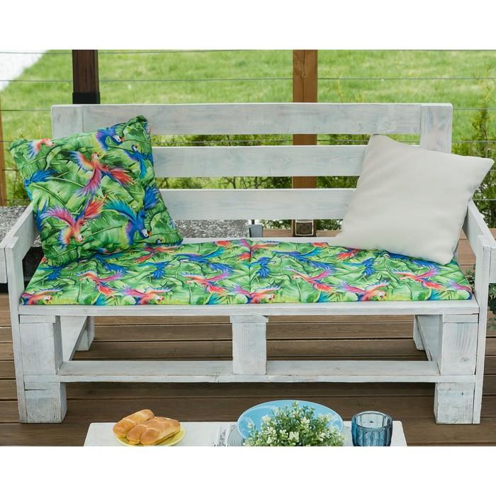 Подушка на трехместную скамейку «Этель» Попугай, 45×150 см, репс с пропиткой ВМГО, 100% хлопок