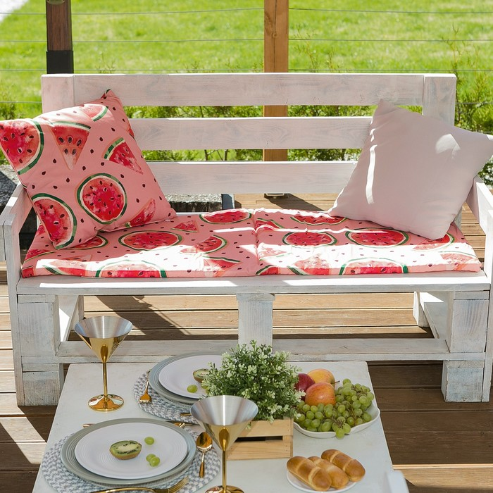 Подушка на трехместную скамейку «Этель» Арбузы, 45×150 см, репс с пропиткой ВМГО, 100% хлопок