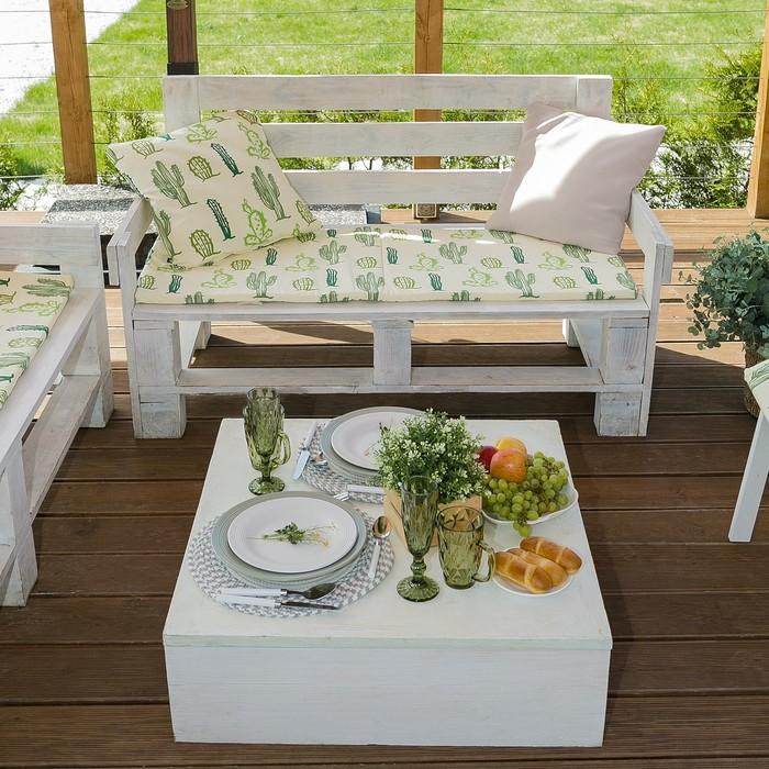 Подушка на трехместную скамейку «Этель» Кактусы, 45×150 см, репс с пропиткой ВМГО, 100% хлопок