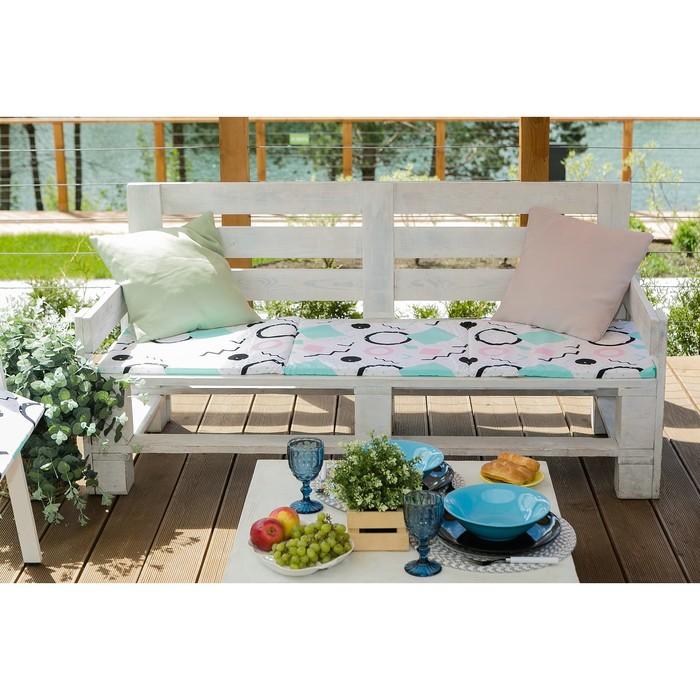 Подушка на трехместную скамейку «Этель» Квадраты, 45×150 см, репс с пропиткой ВМГО, 100% хлопок