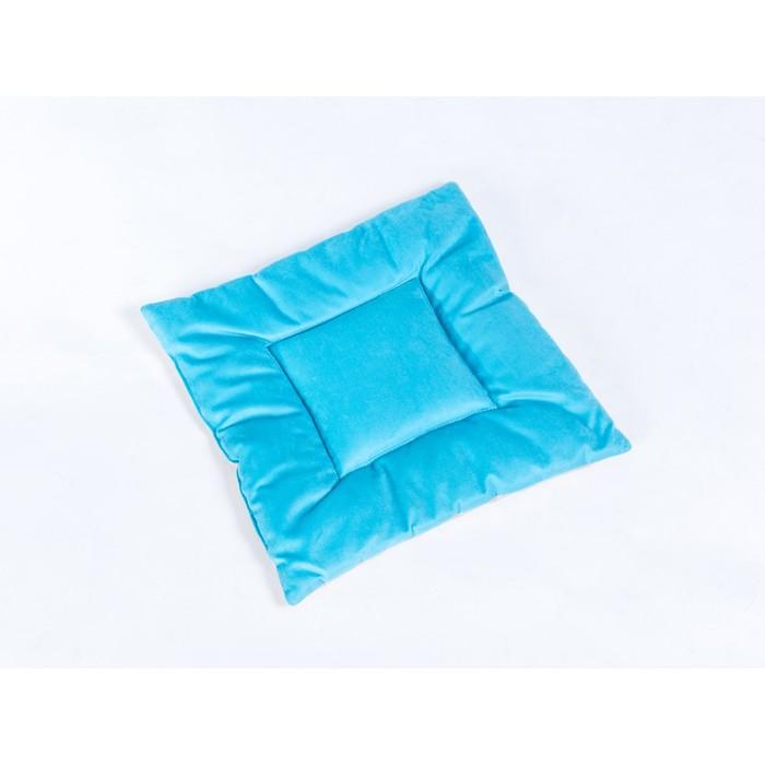 Подушка на стул квадратная 45х45см, высота 5см, велюр голубой, бежевый, синтет. волокно