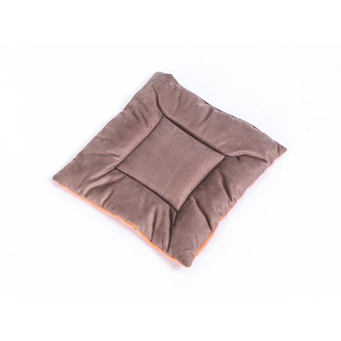 Подушка на стул квадратная 45х45см, высота 5см, велюр коричневый, оранжевый, синт. волокно