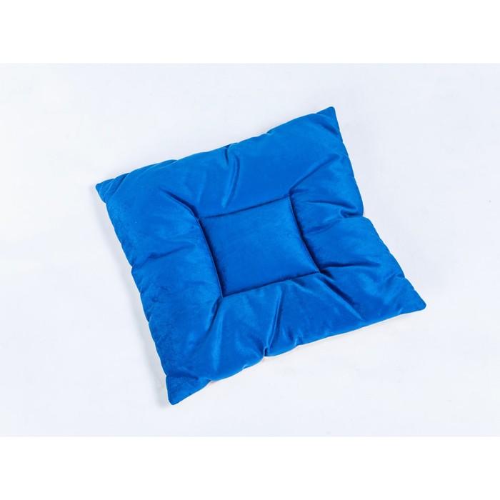 Подушка на стул квадратная 45х45см, высота 5см, велюр синий, серый, синтет. волокно