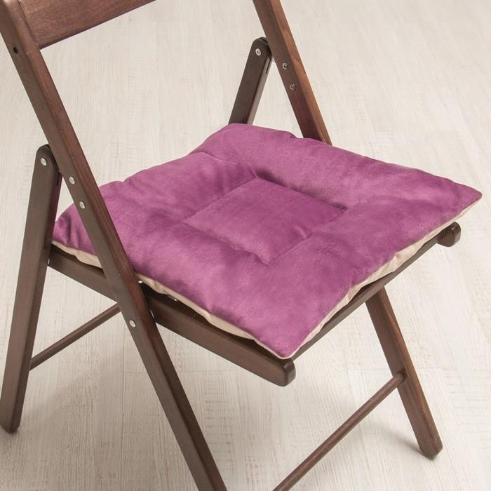 Подушка на стул квадратная 45х45см, высота 5см, велюр сиреневый, серый, синтет. волокно