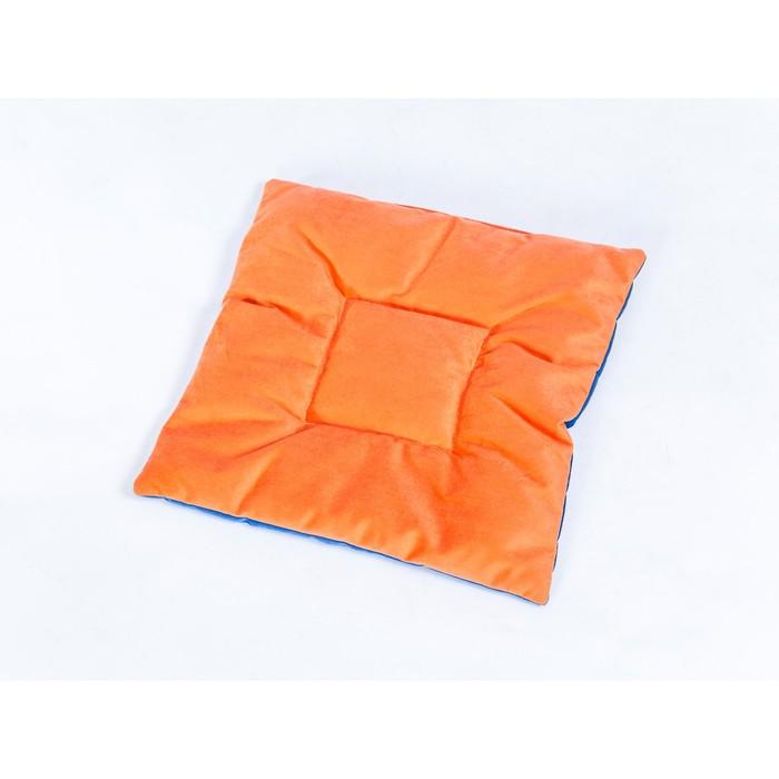 Подушка на стул квадратная 45х45см, высота 5см, велюр синий, оранжевый, синтет. волокно