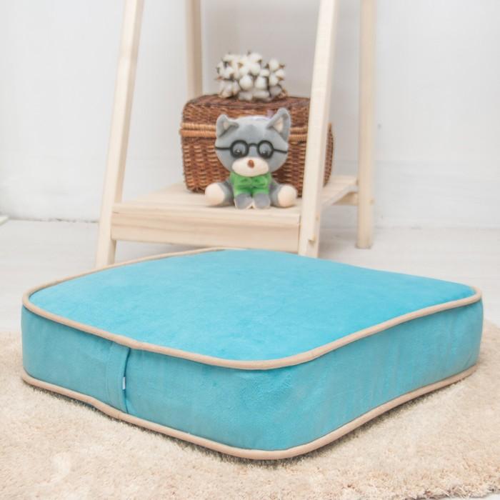 Подушка на стул квадратная 43х43 см, высота 10см, голубой/бежевый, велюр, поролон