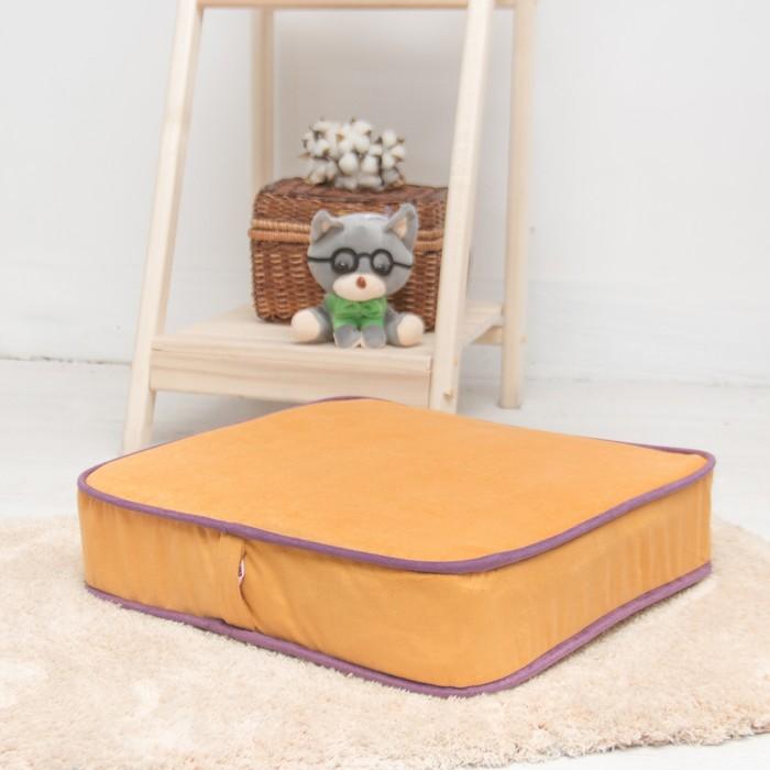 Подушка на стул квадратная 43х43 см, высота 10см, желтый/сиреневый, велюр, поролон