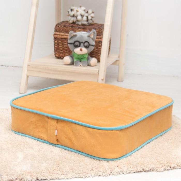 Подушка на стул квадратная 43х43 см, высота 10см, желтый/голубой, велюр, поролон
