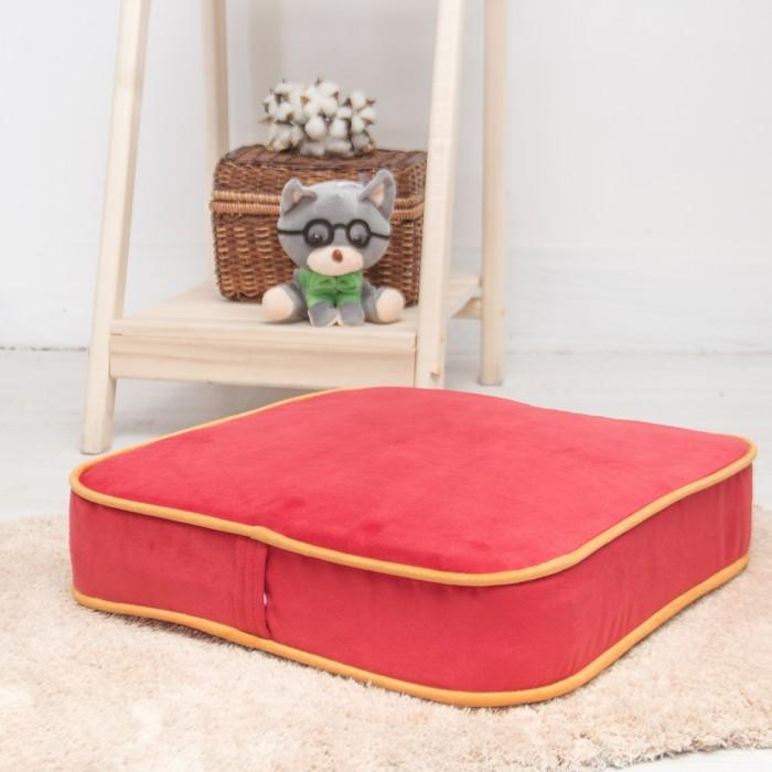 Подушка на стул квадратная 43х43 см, высота 10см, красный/желтый, велюр, поролон