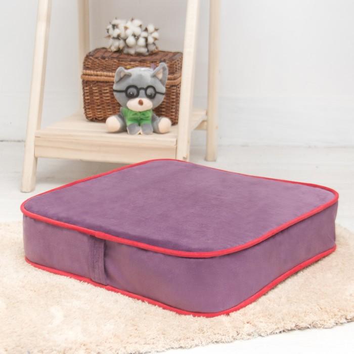 Подушка на стул квадратная 43х43 см, высота 10см, сиреневый/красный, велюр, поролон