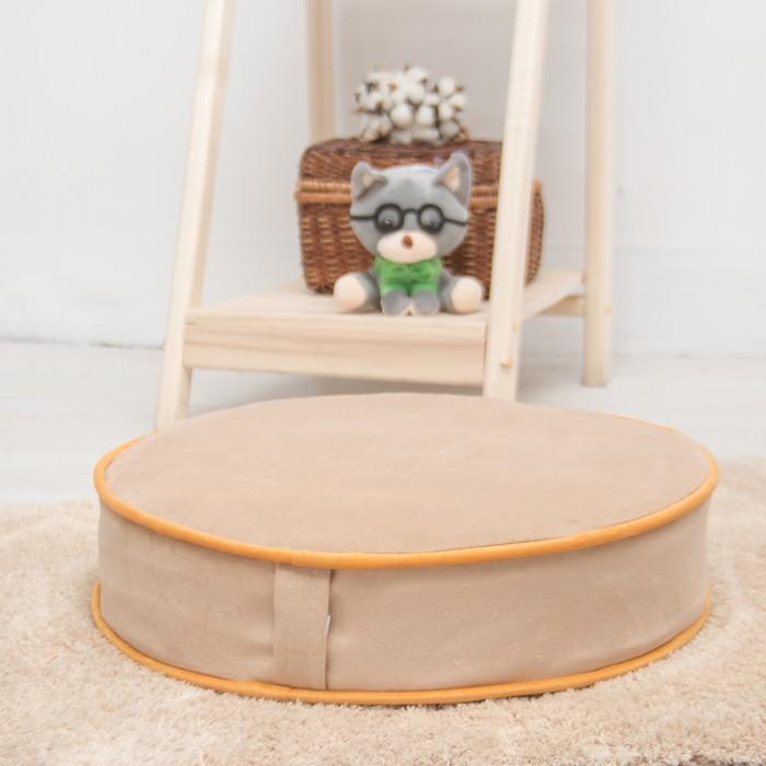 Подушка на стул круглая 43х43 см, высота 10см, бежевый/желтый, велюр, поролон