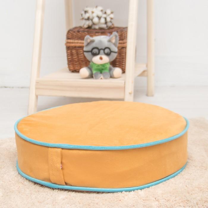 Подушка на стул круглая 43х43 см, высота 10см, желтый/голубой, велюр, поролон