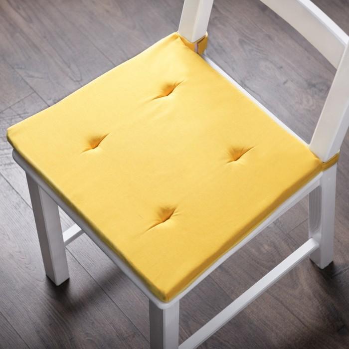 Комплект подушек для стула «Билли», размер 37 × 42 × 3 см - 2 шт, жёлтый