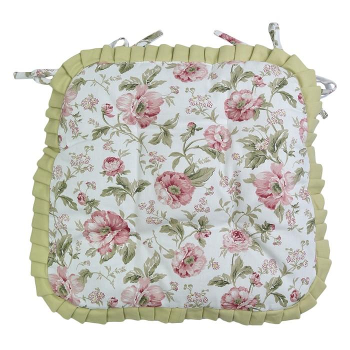 Набор сидушек English rose с рюшами, размер 42х42 см-2 шт., зелёный