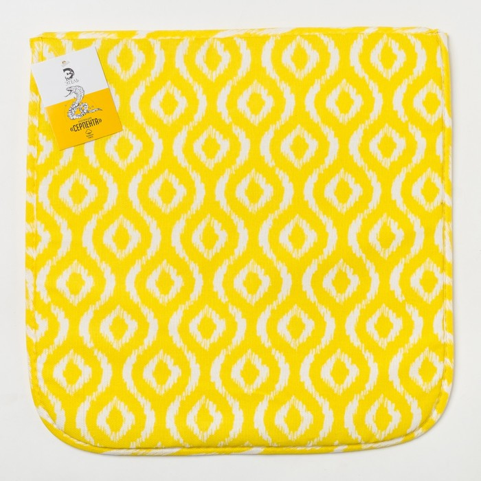 Подушка на стул «Этель» Серпента жёлтый 40х40, с завязками рогожка 160 г/м², 100% хлопок