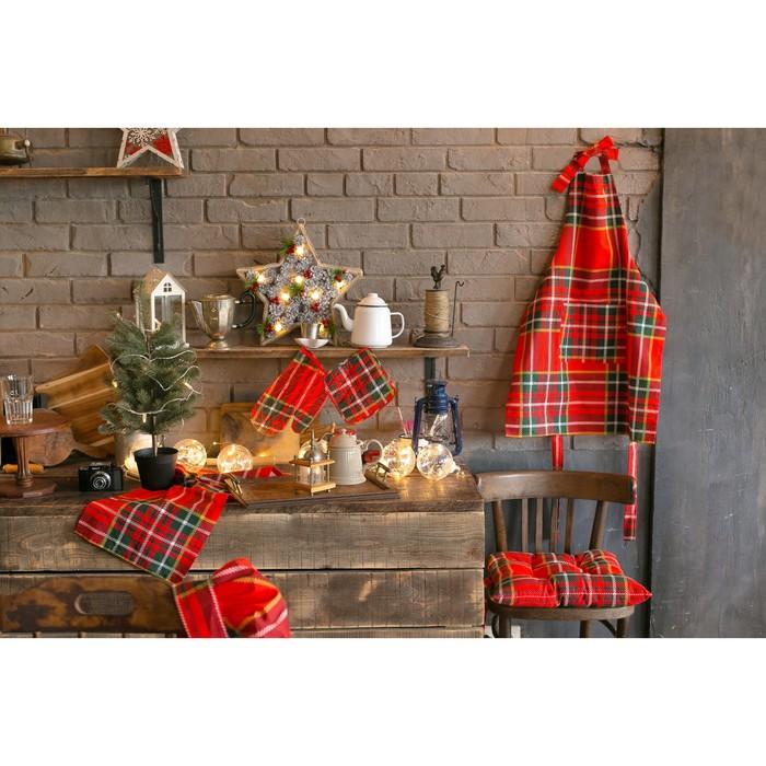 Подушка на стул «Этель» Шотландка, 45х45см, саржа, 100% хлопок