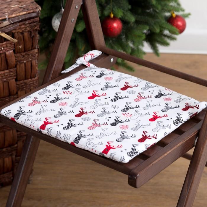 Подушка на стул «Этель» Рога, 32х32, репс 100% хлопок 165г/м2
