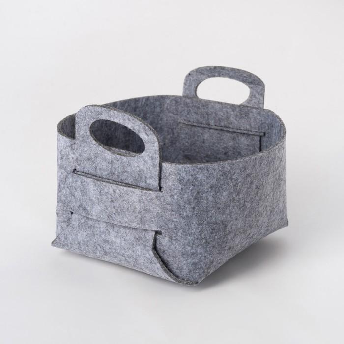 Корзина текстильная для хранения, серая 15х10 см