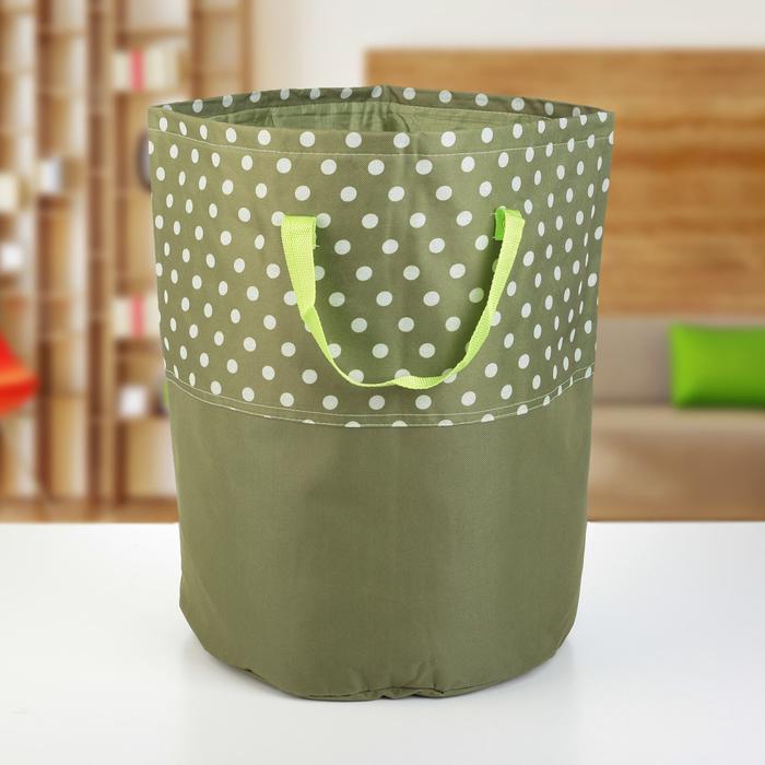 """Корзина для белья 36×36×44 см """"Горох"""", цвет зелёный"""
