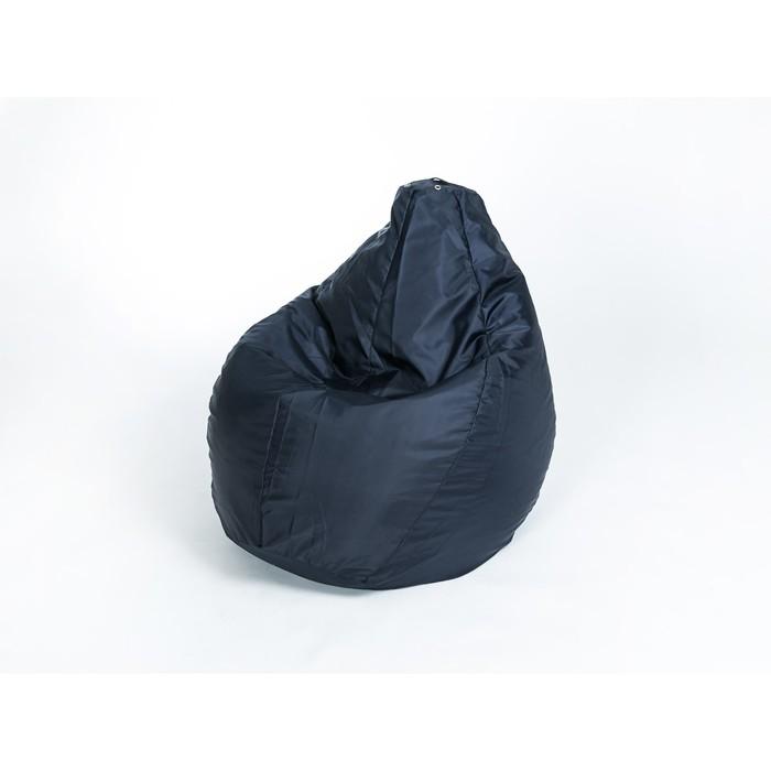 """Кресло-мешок """"Груша"""" средняя, ширина 75 см, высота 110 см, цвет сине-чёрный, плащёвка"""