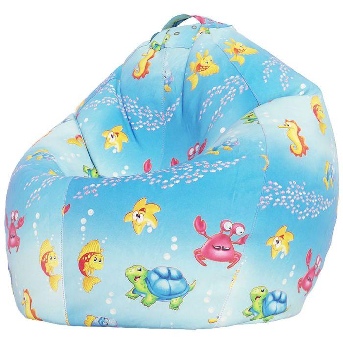 Кресло-мешок XXXL, ткань поплин, принт морская сказка