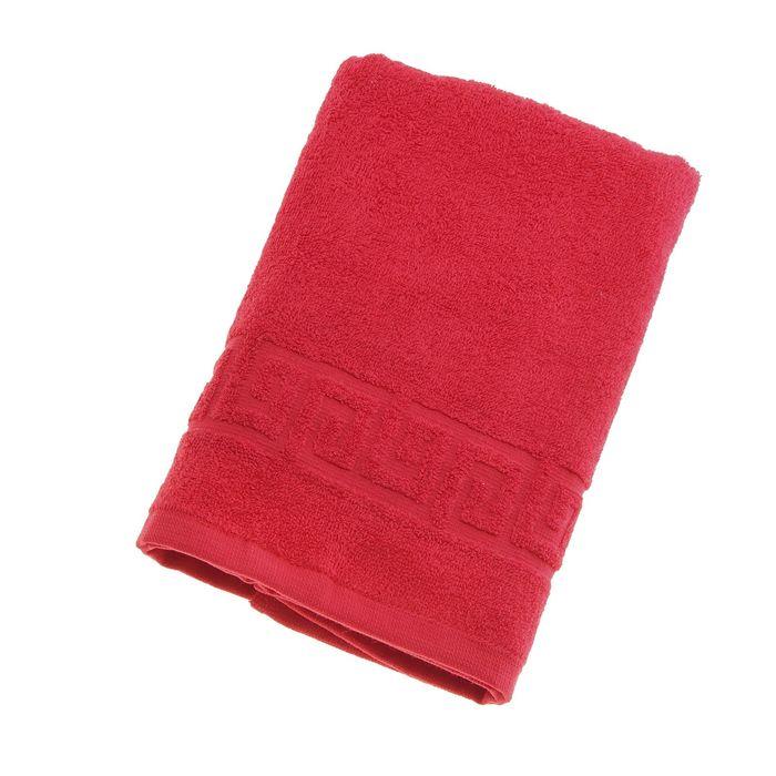 Полотенце махровое однотонное Антей 70х140 см, красный, 100% хлопок, 430 гр/м2