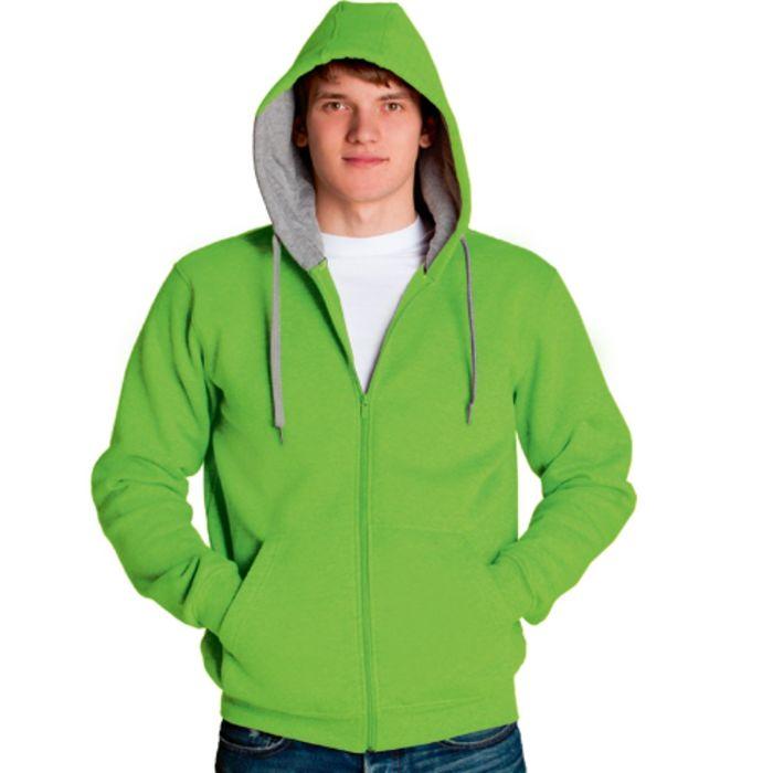 Толстовка мужская StanStyle, размер 48, цвет ярко-зелёный-серый меланж 280 г/м