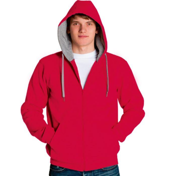 Толстовка мужская StanStyle, размер 44, цвет красный-серый меланж 280 г/м