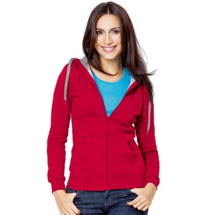 Толстовка женская StanStyle, размер 50, цвет красный-серый меланж 280 г/м