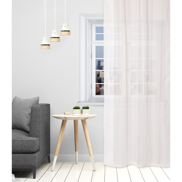Тюль «Этель» 280×270 см, цвет молочный, вуаль, 100% п/э