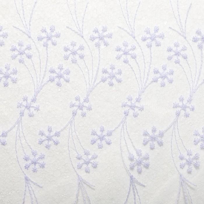Штора тюль 145х260 см, вышивка, белый, шторная лента, пэ 100%,