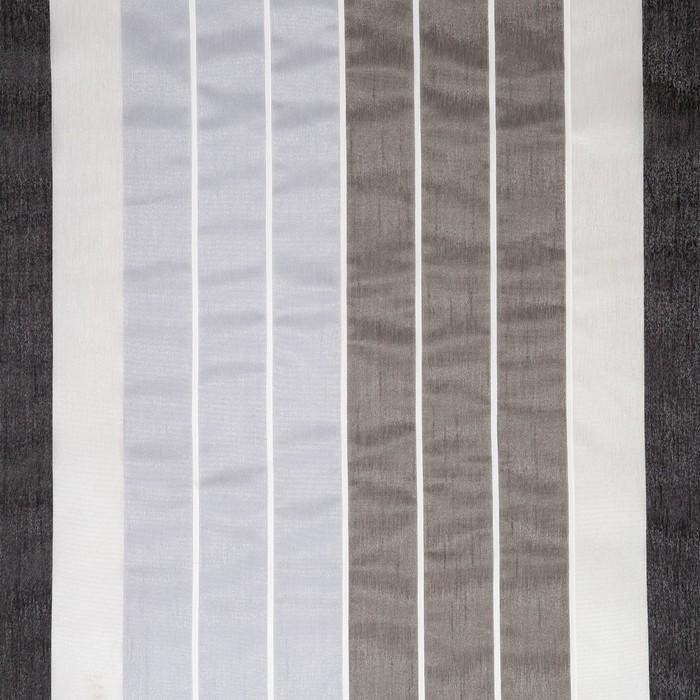 """Тюль """"Этель"""" 200х280 см Гамма серый (вертикальная полоса) 100% п/э"""