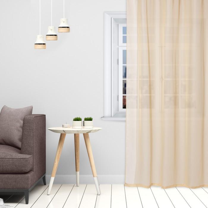 Тюль «Этель» 290×300 см, цвет бежевый, вуаль, 100% п/э