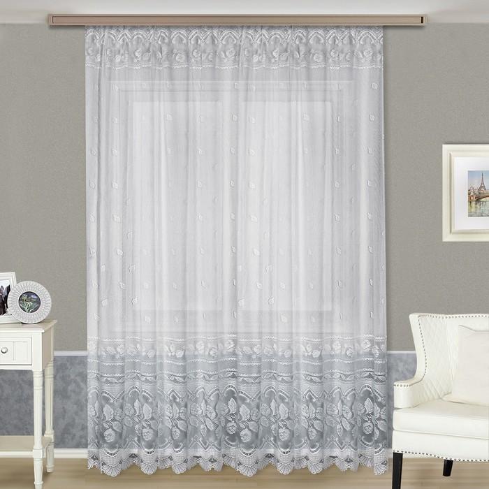Тюль, размер 290х300 см, цвет белый